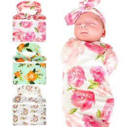 Wholesale Hair Wrap Jewelry - Baby Wrap Swaddling Printing Flower Rabbit Ears Suits Set Swaddling wrapped Bankets Towels Baby Jewelry A118