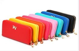 Wholesale Mess Coin - Bowknot PU Leather Moible Bag Cell Phone Pocket Money Dibs Change Wallet Women Lady New Designer Sundries Mess Kits Coin Purses