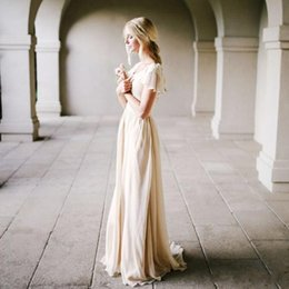 Wholesale New Style Bride Wedding Dress - Bohemian Style Champagne Wedding Dress with Flutter Sleeves A-line Vintage Bridal Gowns Outdoor Modest Beach Bride Dresses Simple New