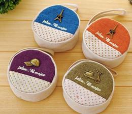 Wholesale Purses Etc - Wholesale- Kawaii Round Cotton & Linen Retro Paris Etc. 9CM Canvas Wrist Coin Purse Wallet BAG ; Storage Key BAG Holder Case Women Handbag