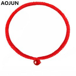Wholesale Thread Braided Bracelets - AOJUN Chinese style Braided Lucky Red String Bracelet Red thread Stone Handmade Weaving For Men Women Lovers Couple Bracelet