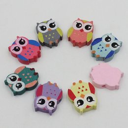 Wholesale Wood Owl Necklace - 100pcs lot Wholesale Colorful Lead-free Owl Wood Beads for Bracelet Necklace 21x17mm k04017