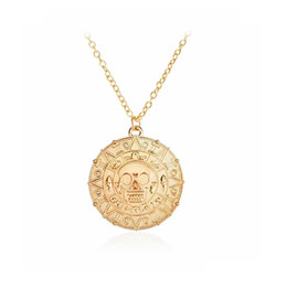 Wholesale Aztec Red - Fashion Necklaces Punk Wind Hand Retro Necklace Caribbean Pirates Aztec Gold Coins Skeleton Long Section Europe Jewelry Pendant Necklace