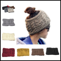 Wholesale Crochet Women Headbands Wholesale - 2017 New 7 Colors Women Wide Crochet Headband Messy Bun Ponytail Womens Skull Caps Ladies Hats Beanies Ear Warmer
