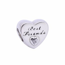 Wholesale Friends Charms - Fashion Jewelry Best Friend Heart Silver Charms With Clear CZ Authentic 925 Sterling Silver Charms Fit Pandora Bracelets Jewelry DIY BF90