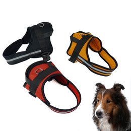 Wholesale Xs Dog Harness - Wholesale Dog Collar Harness Durable Polyester Reflective Light Dog Harness 5 Sizes Black Red Orange Colors Pet Harness--XS S