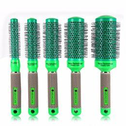 Wholesale Curling Rollers - 5Pcs Round Roller Hair Comb Set Ceramic Barrel Hairdressing Curler Massage Comb Hair Curling Brush Salon Barber Styling Tools