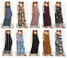 Wholesale Crow Harness - Big Size Beautiful Women Fashion Casual Printing Sleeveless Harness Dress Vacation Travel Beach Long Dresses for Pretty Ladies