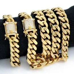 Wholesale 14mm Men Bracelet - Men Cuban Miami Link Bracelet & Chain Set 18k Gold Plated 14mm 1ct Lab Diamonds