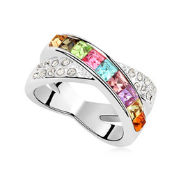 Wholesale Ring X Shape - Top selling X shape design rings for women wedding party jewelry with multicolor Swarovski elements crystal anillos marcas lujo mujer