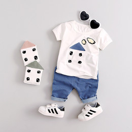 Wholesale winter autumn outfits - Summer Children Outfits Boys Short Sleeve Less-Sleeve Clothes Top+Short Pants 2 pcs Outfits 3 Colors 4 s l