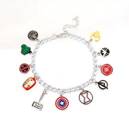 Wholesale Eagle Charm Bracelet - Free Shipping Avengers Charm Bracelet Captain America Shield Iron Man Mask Thor's hammer eagle deadpool hulk unisex bracelet