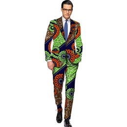 Wholesale Suit Set Blazers - Wholesale- African blazers and trousers men fashion africa print dashiki suits business edition slim fit blazer+pant set tailor made