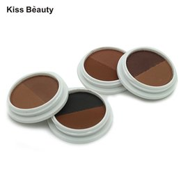 Wholesale Brow Cake Powder - Wholesale- 2 Colors Brand New Kiss Beauty Eyeshadow Eye Brow Makeup Waterproof Eyebrow Cake Powder Palette Make Up Professional Cosmetics
