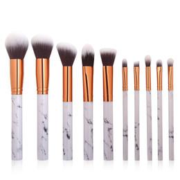 Wholesale Bb Professionals - 10pcs set Makeup Powder Cosmetics BB Cream Blush Eyebrow Lip Concealer Eyeshadow Brushes For Professionals Marble Handle Make Up Set Tools