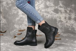 Wholesale Black Leather Ankle Booties - LIUGG Resell wholesale genuine leather women boots vintage soft leather quality winter warm ankle booties size35-40