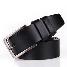 Wholesale 38 Pin - Wholesale- Jeans Joker 100% Genuine Leather Metal Pin Buckle Belt for Men fashion Vintage Famous Brand Mens Belts luxury
