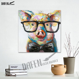 Wholesale Animal Canvas Wall Art - Animal Oil painitng Cartoon Cute Pig 100% Hand-painted Abstract Painting Unframed Canvas Wall Art Picture Living Room Decor