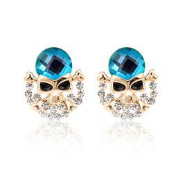 Wholesale Gold Skull Studs - Tim Fashion Style Big Crystal Skull Stud Earrings Rhinestones Women Paraoh Earring Alloy Skeleton Ear Jewelry Girls Accessories