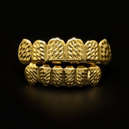 Wholesale Bio Plates - New Bio Cooper Gold Plated Iced Out Hip Hop Teeth Grillz For Mouth Caps Top & Bottom Grills Set Vampire Teeth Christmas Gift With Box