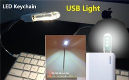 Wholesale Usb Power Tube - Portable Mini light Keychain USB Power 3 SMD LED Tube White Night Light U Disk Shape Laptop Lamp Camping Reading With Cover