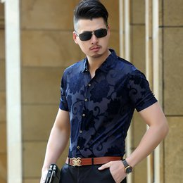 Wholesale Silk Sexy Breast Transparent - Mens See Through Business Casual Silk Shirts Transparent Floral Sexy Shirts Blue Black Thin Slim Summer Short Sleeved Shirt