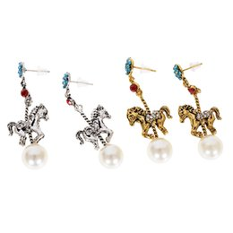 Wholesale Drape Earrings - 1 Pair Horse Pendant Ear Earrings Charm Pendants Drape Earring For Women Holiday Gifts Party Jewelry JEG0149