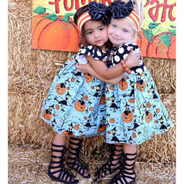Wholesale Holiday Party Tops - Girls Halloween Pumpkin Dress Clothing Black Top With White Dots Blue Dresses With Pumpkin Witch Printed Party Holiday Kids Dresses