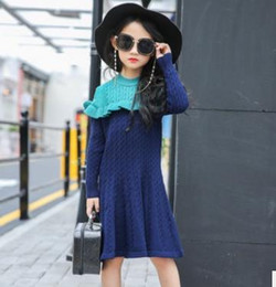 Wholesale Dress Slim Tight - Girls knitting dresses kids long sleeve ruffle lace sweater dresses children contrast color long dress girls slim tight waist dress G1458