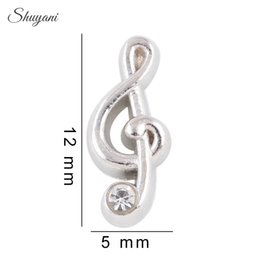 Wholesale Musical Lockets Wholesale - Wholesale-20PCS Floating Music Notes Charms Silver Crystal Musical Floating Locket Charms for Magnetic Glass Locket