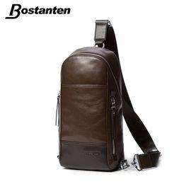 Wholesale Leather Sling Pillow - Wholesale-Bostanten Men's Vintage Cowhide Genuine Leather Bag Chest Pack Messenger Travel Shoulder Cross Body Sling Pack Chest Casual Bag
