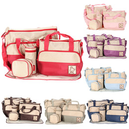 5pcs set handbags Promo Codes - Wholesale- 5Pcs Set Multifunctional Mummy Baby Bag Diaper Nappy Changing Handbag 5 Size Diaper Towel Baby Clothes Milk Bottle Storage Bag