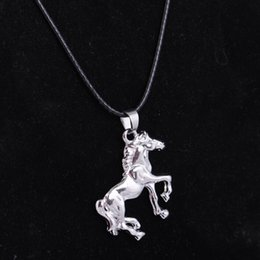 Wholesale Men Black Chain Necklace 18 - Fashion Silver Tone Cool Horse Pendant Choker Necklace With 18 Inches Black Leather Wax Rope Chain For Men Women Gift