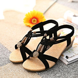Wholesale Beaded Flip Flop Slippers - Black Bohemia Beach Wedge Sandals Summer Retro Beaded Shoes Sandals Women Girls Fashion Slippers Free Shipping