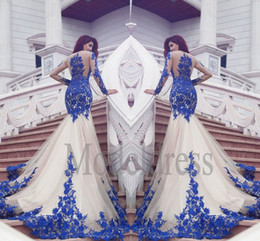 Wholesale Fall Special Occasion Dresses - 2017 African Dubai Mermaid Prom Dresses Sheer Long Sleeves Lace Appliques Vestidos Arabic Evening Gowns Special Occasion Dress Real Images