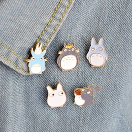 Wholesale Totoro Wholesale Japan - Wholesale- 5pcs set Japan Anime TOTORO Enamel Pins and Brooches Childrens Clothing Badge Corsage My Neighbor Totoro Jewelry