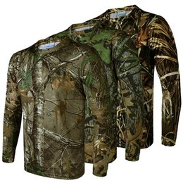 Wholesale Unisex Clothes Plus Size - New 2017 Quick-drying elastic long-sleeved T-shirt bionic camouflage 3D Tshirt outdoor hunting camping clothing sports plus size