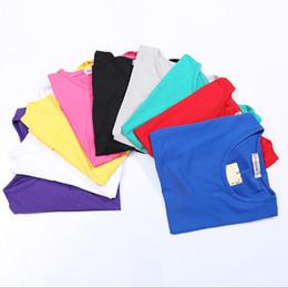 Wholesale Plain Shirts Women - High Quality O-Neck 12 Candy Colors Cotton Basic T-shirt Women Plain Simple T Shirt For Women Short Sleeve Female Tops