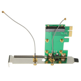 Wholesale wlan card pci - Wholesale- 1PC 802.11n Mini Wireless WIFI Mini PCI-E Card To PCI-E Wlan Adapter Expansion Network Card 2 Antenna WiFi Convertor