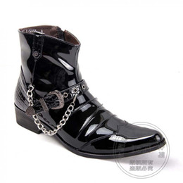 Wholesale Cool Leather Mens Coats - Booties Cool Appealing Winkle Picker Buckle For Party Chains High Top Biker Mens Winter Motorcycle Boots Side Zip Coat Of Paint