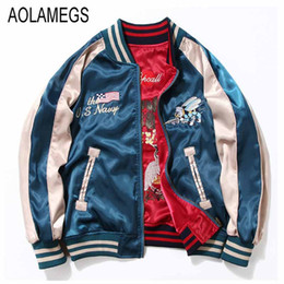 Wholesale Baseball Jacket Women Letter S - Wholesale- Aolamegs Japan Yokosuka Embroidery Jacket Men Women Fashion Vintage Baseball Uniform Both Sides Wear Kanye West Bomber Jackets