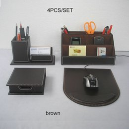 Wholesale Office Name Stand - Wholesale- 4PCS set wooden PU leather office desk stationery organizer pen holder pencil case note name card stand desktop accessories K218