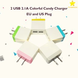Wholesale New Wall Chargers For Iphone - New Colorful Candy Charger 2 USB Wall Charger Travel Adapter US EU Plug 5V 2.1A For iPhone 7 Samsung S8 S5 LG and Huawei
