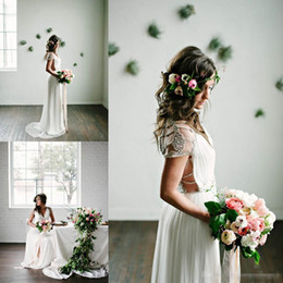 Wholesale T Back Chiffon Wedding Gown - BHLDN 2018 Romantic Bohemian Wedding Dresses with Capped Sleeves Chiffon Floor Length Beaded Back Sexy Boho Bridal Party Gowns