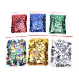 mensajes del arbol de navidad Rebajas 6mm / 10mm Estrellas Mesa Confetti Sprinkles Fiesta de Cumpleaños Decoración de Boda Sparkle Azul Oro Plata Verde Metálico Estrellas Suministro