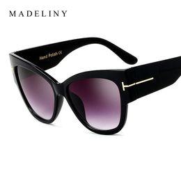 Wholesale Tom New Cat - New Fashion Brand Designer Tom Cat Eye Sunglasses Women Oversized Frame Vintage Sun Glasses oculos de sol UV400 MA092