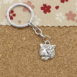 Wholesale Tiger Head Pendants - 15pcs Fashion Diameter 30mm Metal Key Ring Key Chain Jewelry Antique Silver Plated angrily tiger head 23*17mm Pendant