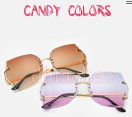 Wholesale Transparent Glasses Rimless - Moq=10pcs 2017 New Summer Women Fashion Rimless Cutting Lens Transparent Irregular Sunglasses Driving Beach Glasses 12 Colors Free Shipping