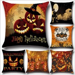 Wholesale Bedroom Couches - Newest Happy Halloween gifts Pumpkin series Linen pillow case Chairs Sofas Couches Pillow Covers for boys bedroom