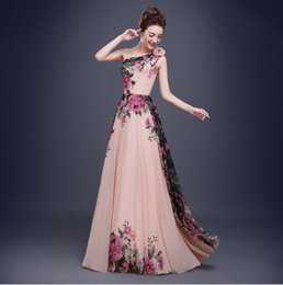 Wholesale Long Dresses Uk Online - Stunning One Shoulder Flower Printed Long Prom Dresses 2017 Cheap Women Formal Evening Dress Party Graduation Homecoming Gowns US UK Online